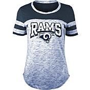 NFL Team Apparel Women's Los Angeles Rams Space Dye Glitter Navy T-Shirt