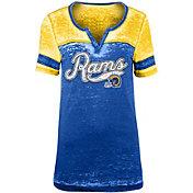 NFL Team Apparel Women's Los Angeles Rams Foil Burnout Royal T-Shirt