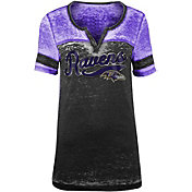 NFL Team Apparel Women's Baltimore Ravens Foil Burnout Black T-Shirt