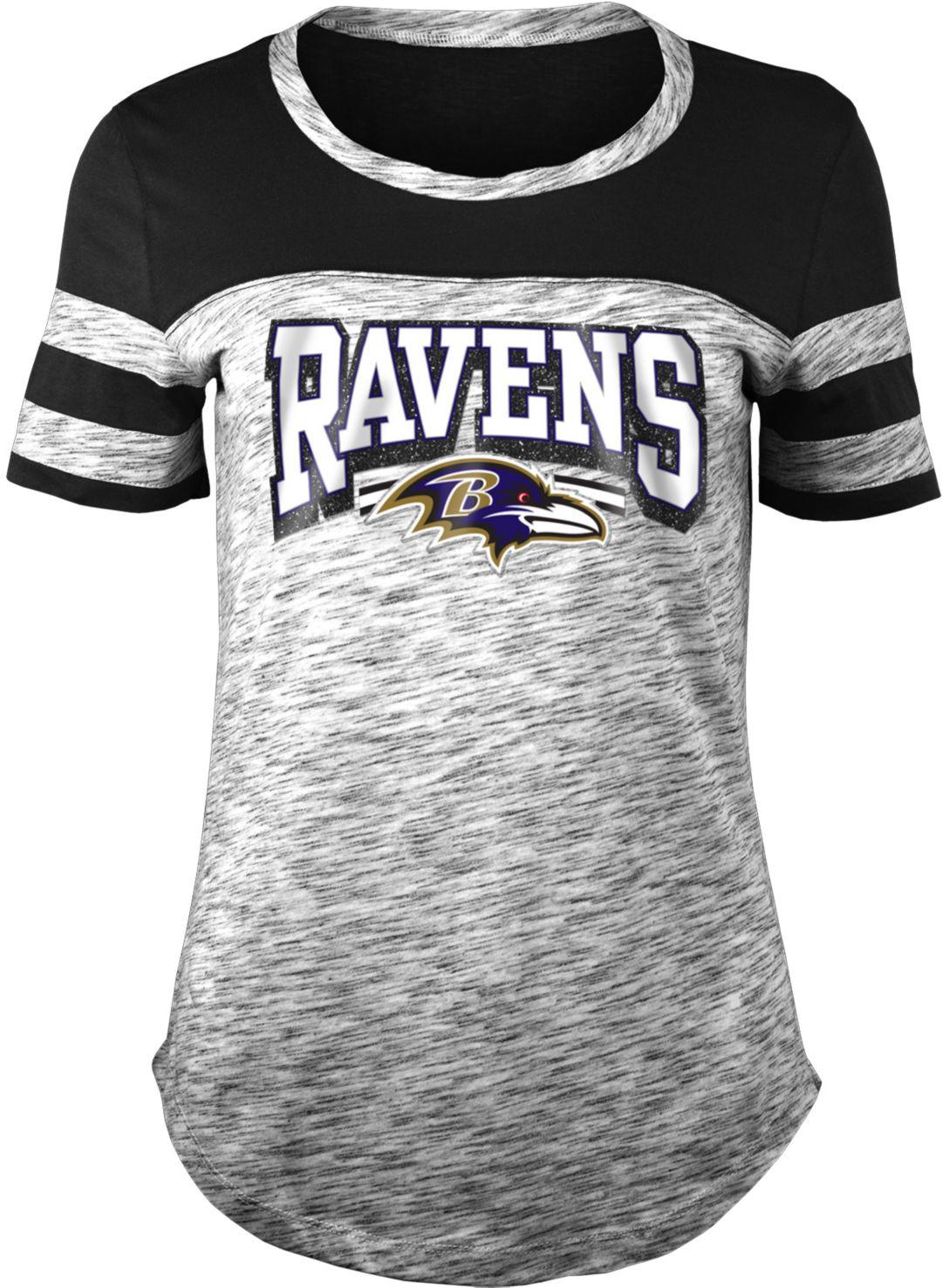 1f2fa6c1 NFL Team Apparel Women's Baltimore Ravens Space Dye Glitter Black T-Shirt