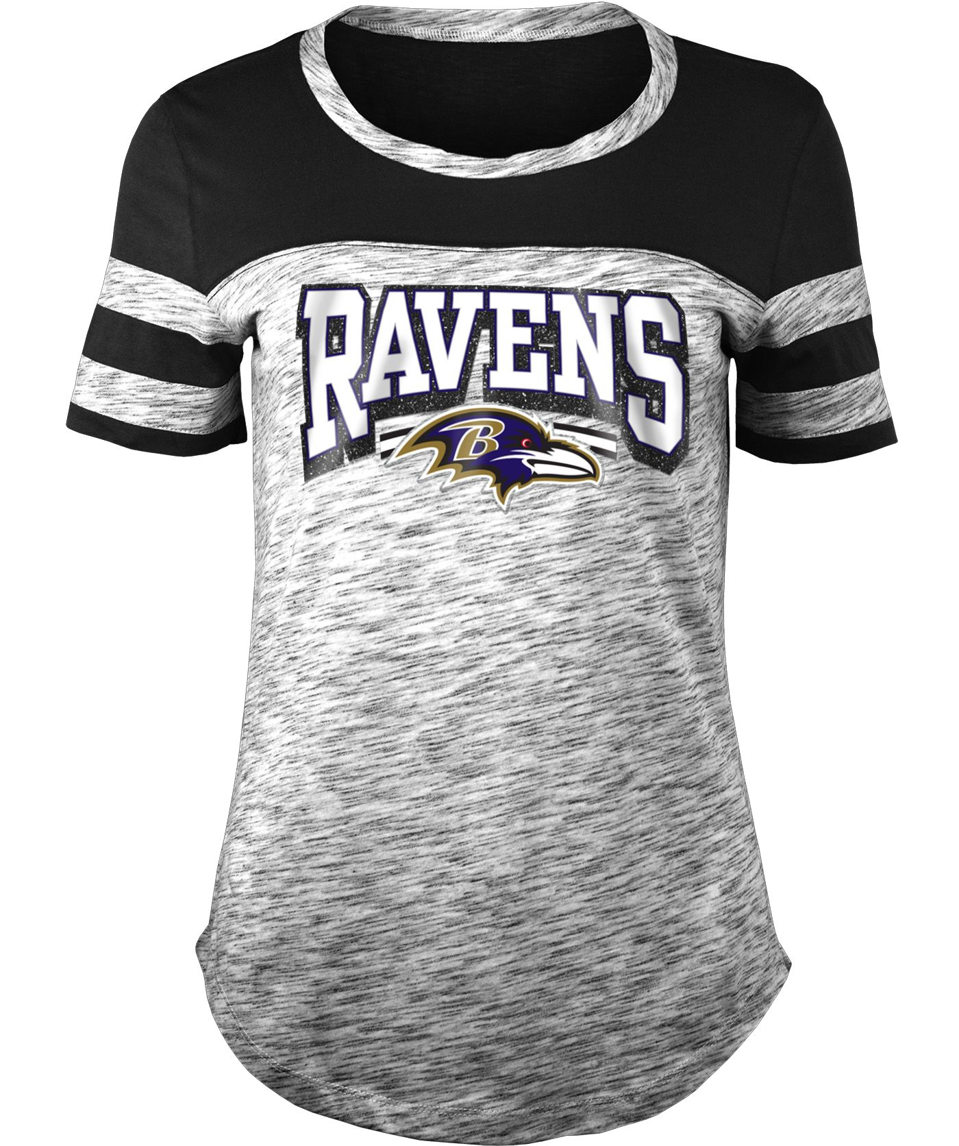 NFL Team Apparel Women's Baltimore Ravens Space Dye Glitter Black T-Shirt