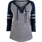 NFL Team Apparel Women's Seattle Seahawks Trilace Grey Raglan Shirt