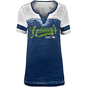 NFL Team Apparel Women's Seattle Seahawks Foil Burnout Navy T-Shirt