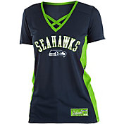 NFL Team Apparel Women's Seattle Seahawks Mesh X Navy T-Shirt
