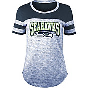 NFL Team Apparel Women's Seattle Seahawks Space Dye Glitter Navy T-Shirt