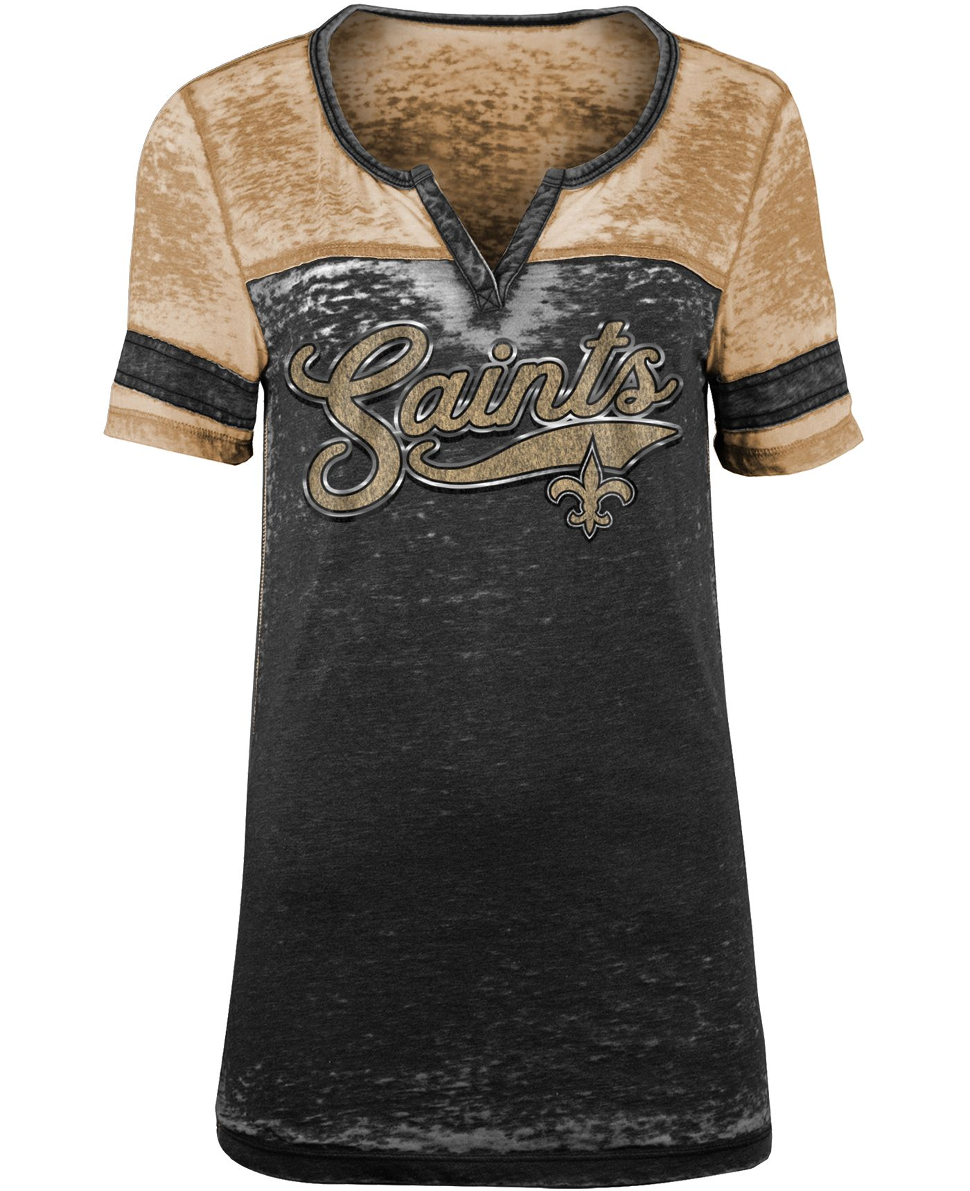 NFL Team Apparel Women's New Orleans Saints Foil Burnout Black T-Shirt