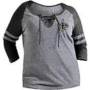 NFL Team Apparel Women's New Orleans Saints Trilace Grey Raglan Shirt