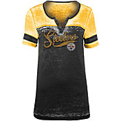 NFL Team Apparel Women's Pittsburgh Steelers Foil Burnout Black T-Shirt