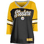 NFL Team Apparel Women's Pittsburgh Steelers Mesh Raglan Top