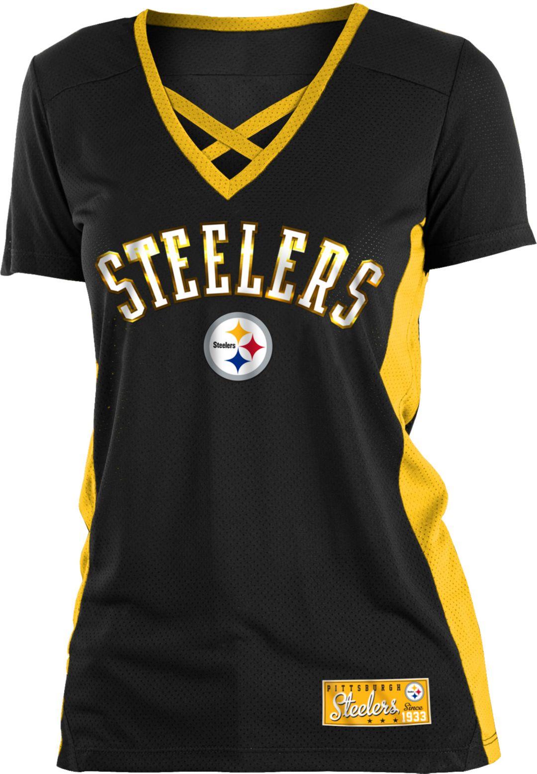 98516385 NFL Team Apparel Women's Pittsburgh Steelers Mesh X Black T-Shirt