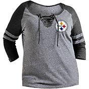 NFL Team Apparel Women's Pittsburgh Steelers Trilace Grey Raglan Shirt