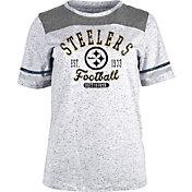 NFL Team Apparel Women's Pittsburgh Steelers Peppercorn Grey T-Shirt