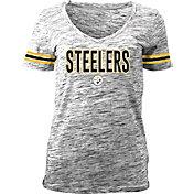 NFL Team Apparel Women's Black Space Dye Black V-Neck T-Shirt
