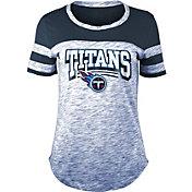 NFL Team Apparel Women's Tennessee Titans Space Dye Glitter Navy T-Shirt