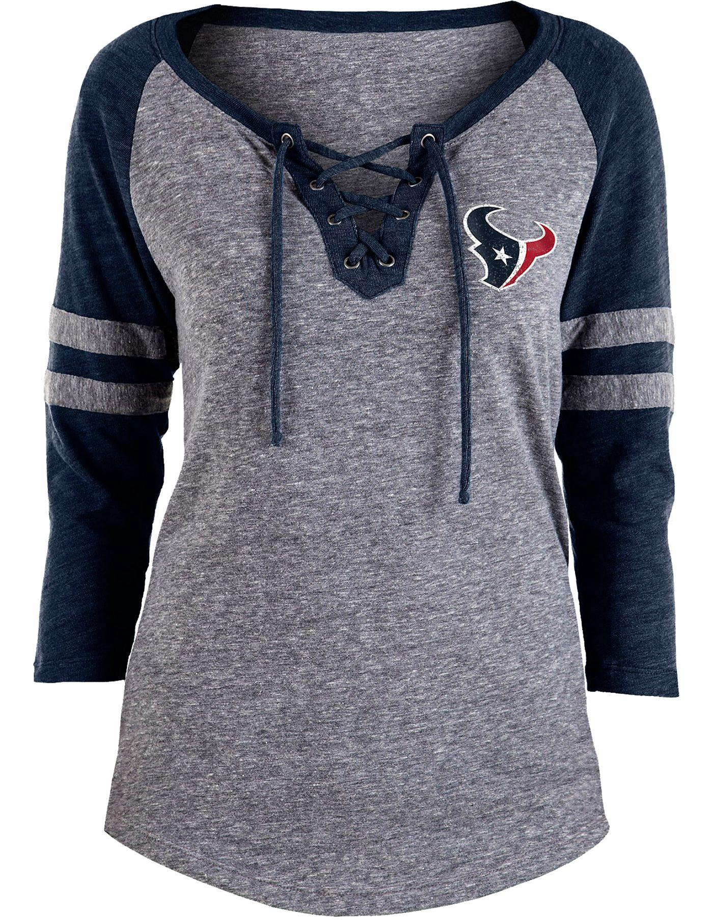 NFL Team Apparel Women's Houston Texans Trilace Grey Raglan Shirt