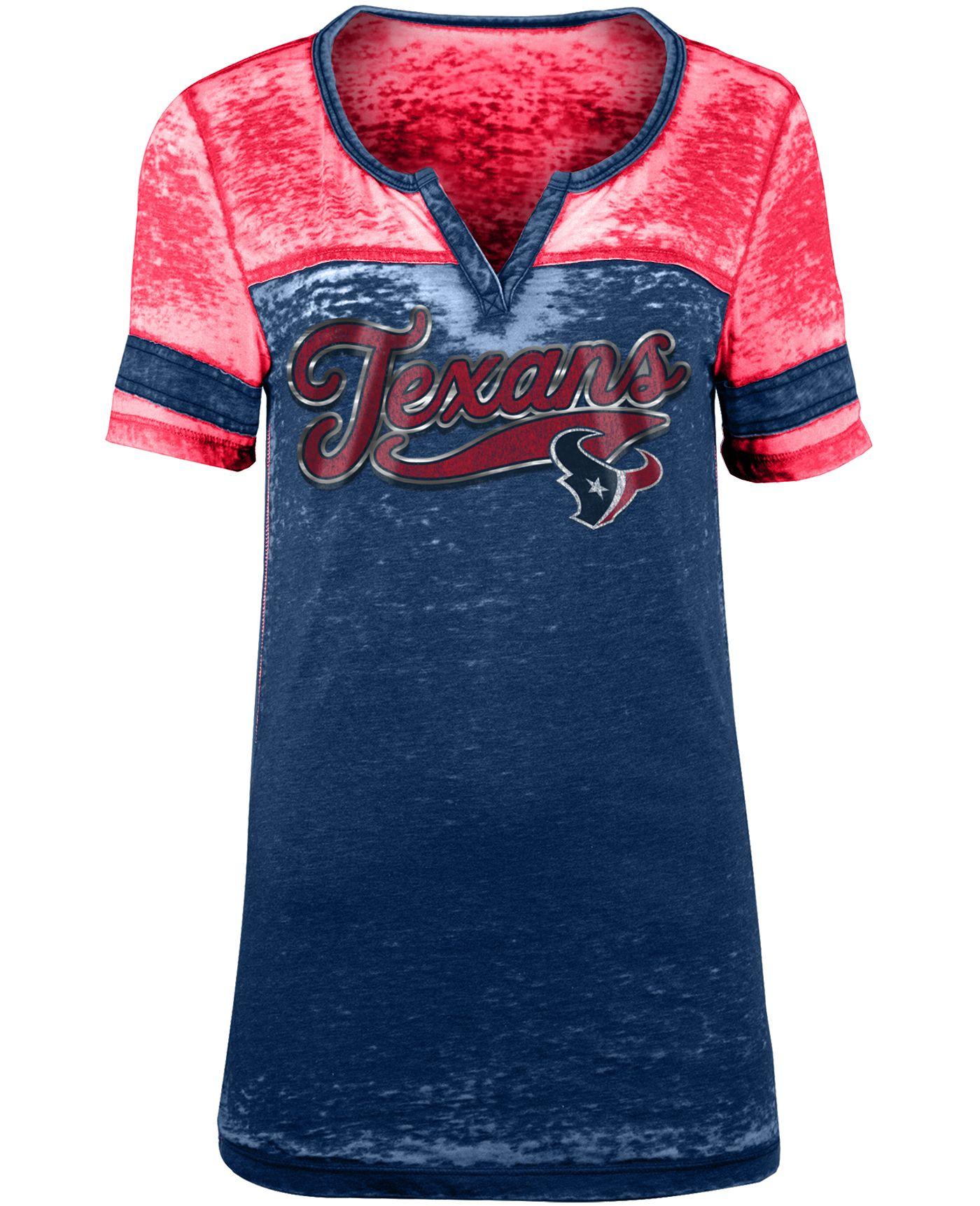 NFL Team Apparel Women's Houston Texans Foil Burnout Navy T-Shirt