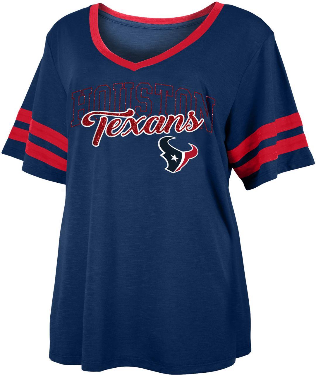 cheap for discount bdcc9 c9b60 NFL Team Apparel Women's Houston Texans Slub Glitter T-Shirt