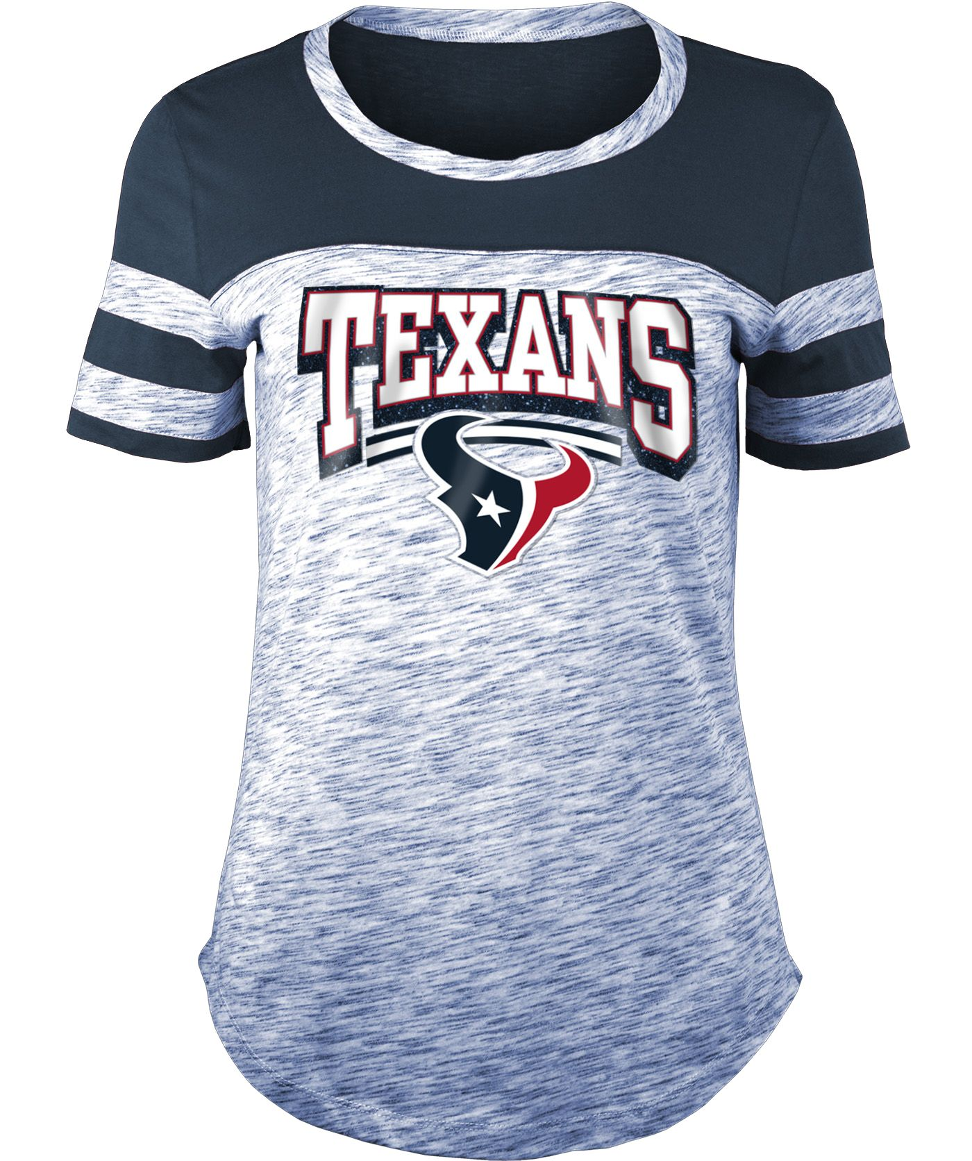 NFL Team Apparel Women's Houston Texans Space Dye Glitter Navy T-Shirt
