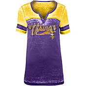 NFL Team Apparel Women's Minnesota Vikings Foil Burnout Purple T-Shirt