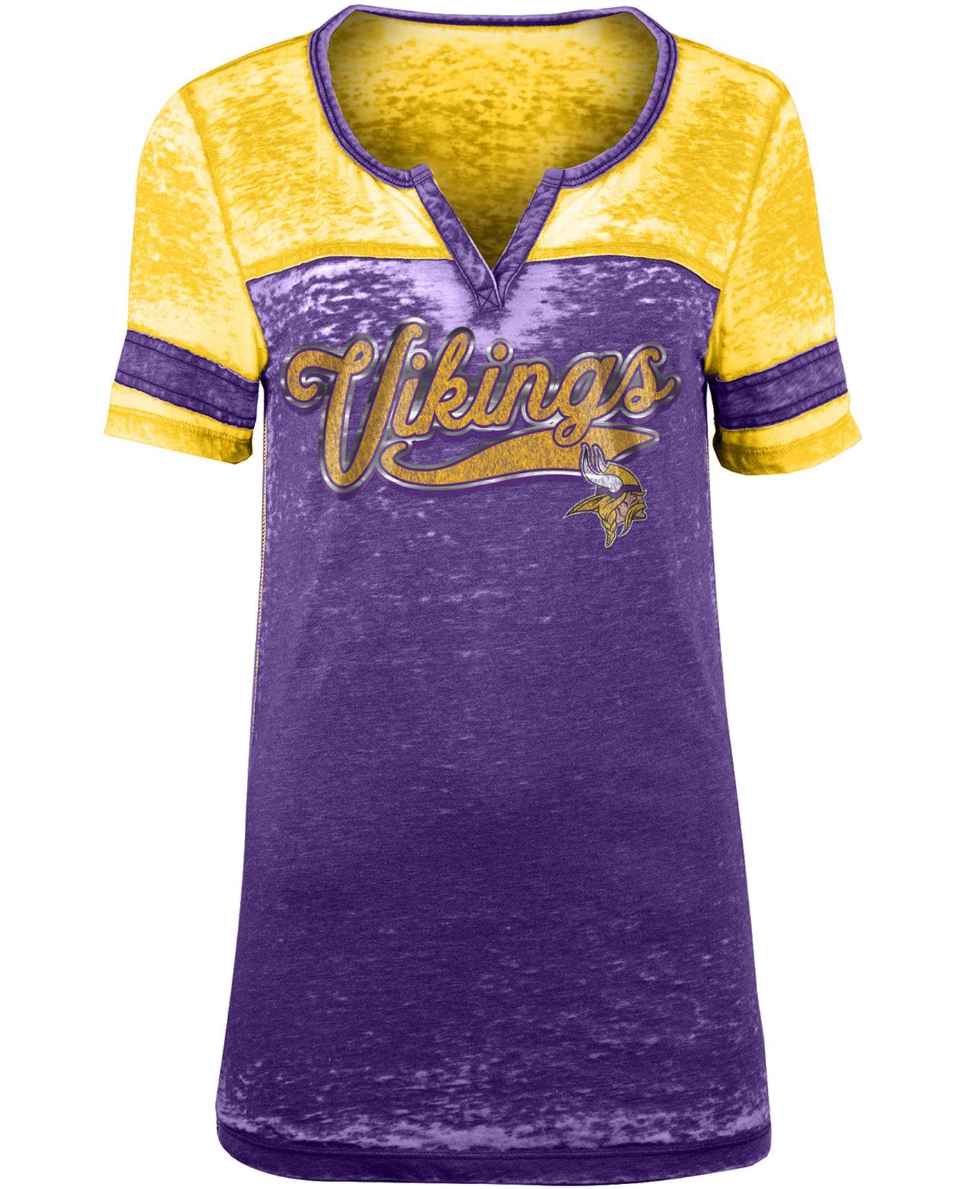 NFL Team Apparel Women's Minnesota Vikings Foil Burnout Purple T-Shirt