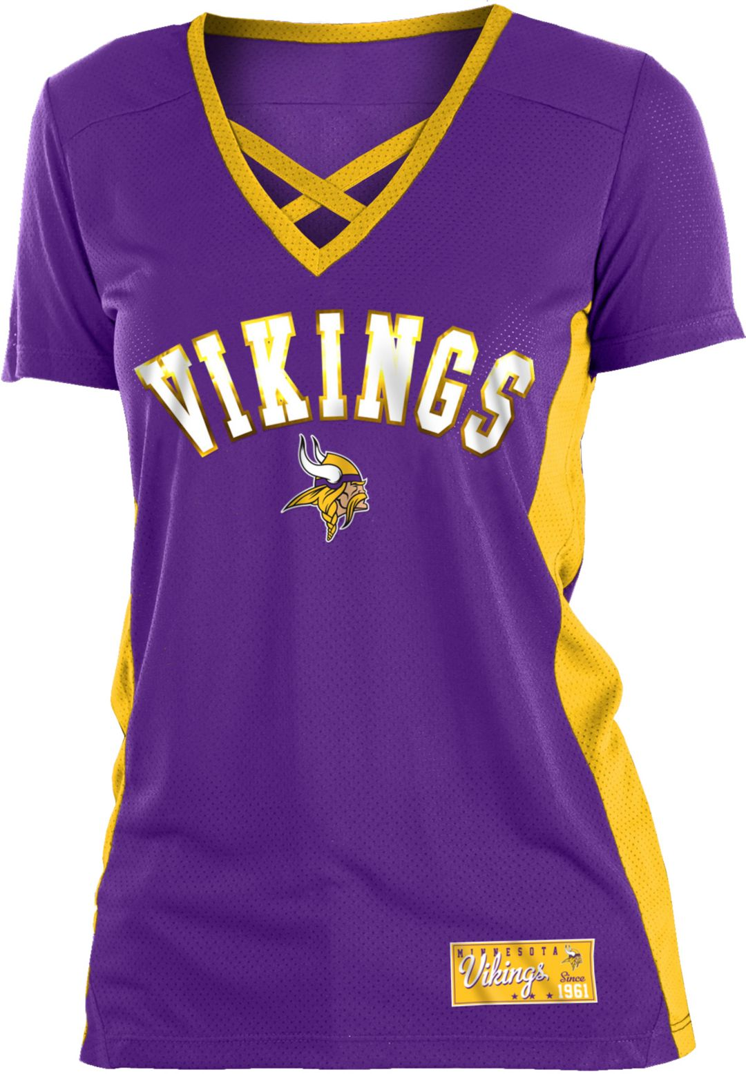 reputable site 3b748 8679d NFL Team Apparel Women's Minnesota Vikings Mesh X Purple T-Shirt