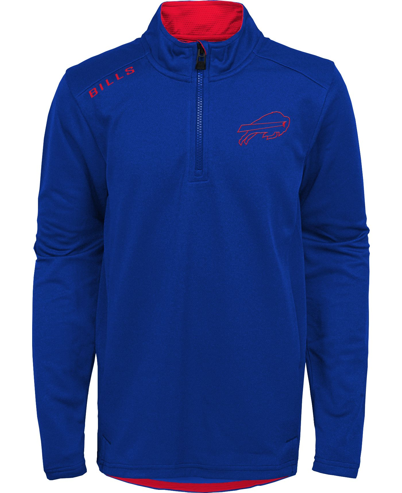 NFL Team Apparel Youth Buffalo Bills Unlock Royal Quarter-Zip Pullover