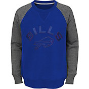 NFL Team Apparel Youth Buffalo Bills Raglan Fleece Royal Crew