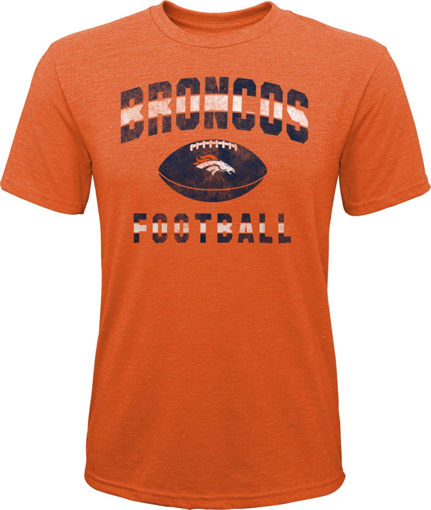 NFL Team Apparel Youth Denver Broncos Big Game Tri-Blend Orange T-Shirt