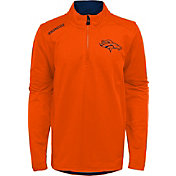 NFL Team Apparel Youth Denver Broncos Unlock Orange Quarter-Zip Pullover