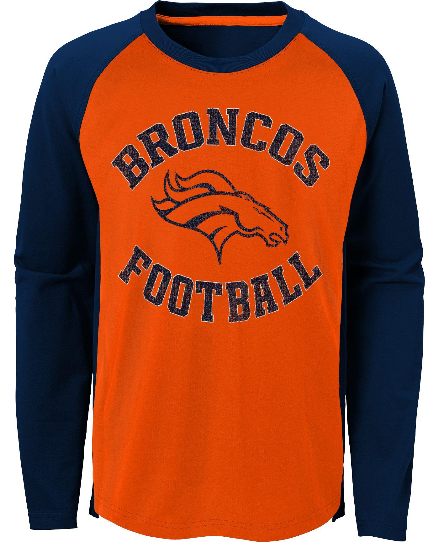 NFL Team Apparel Youth Denver Broncos Air Raid Long Sleeve Orange Shirt