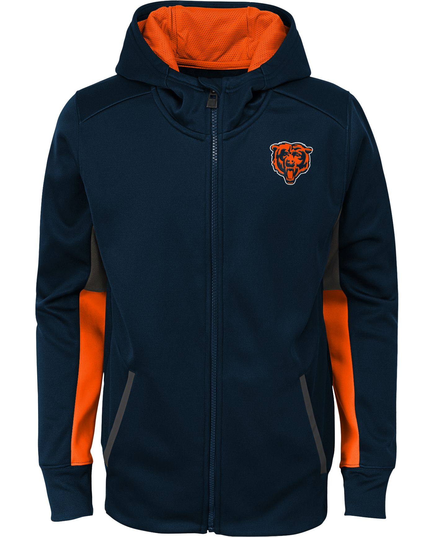 NFL Team Apparel Youth Chicago Bears Performance Navy Full-Zip Hoodie