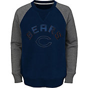 NFL Team Apparel Youth Chicago Bears Raglan Fleece Navy Crew