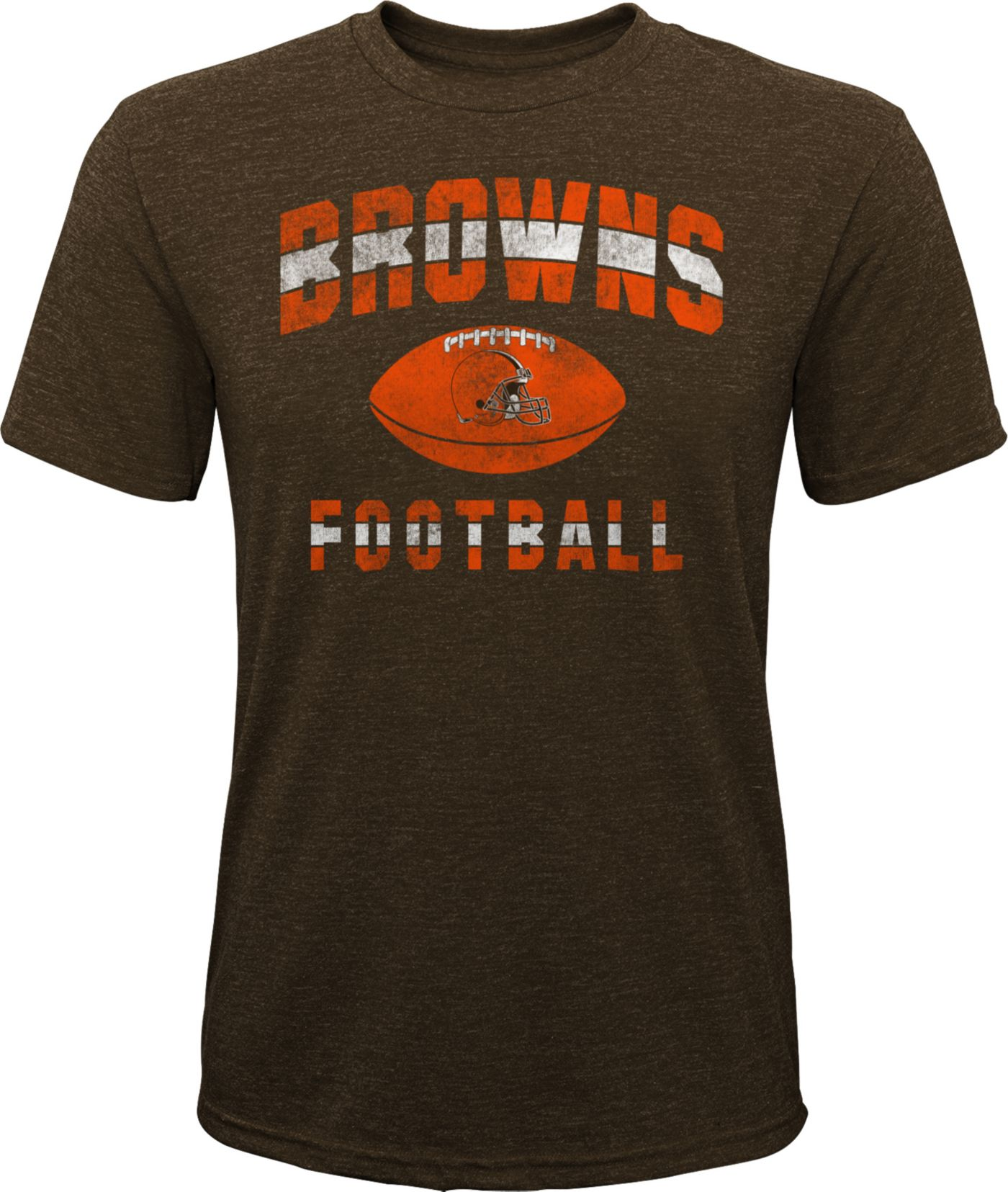 NFL Team Apparel Youth Cleveland Browns Big Game Tri-Blend Brown T-Shirt