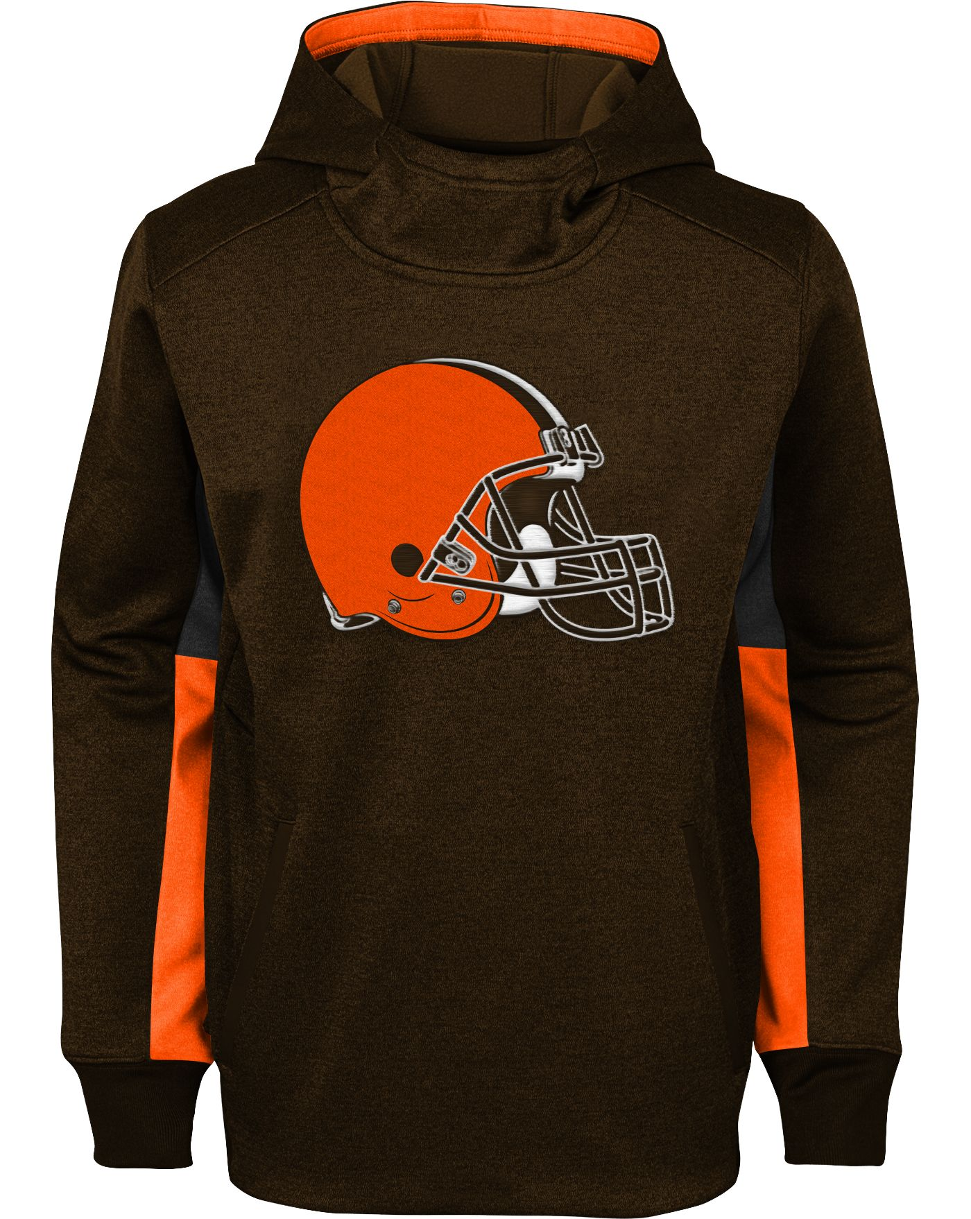 NFL Team Apparel Youth Cleveland Browns Status Performance Brown Hoodie
