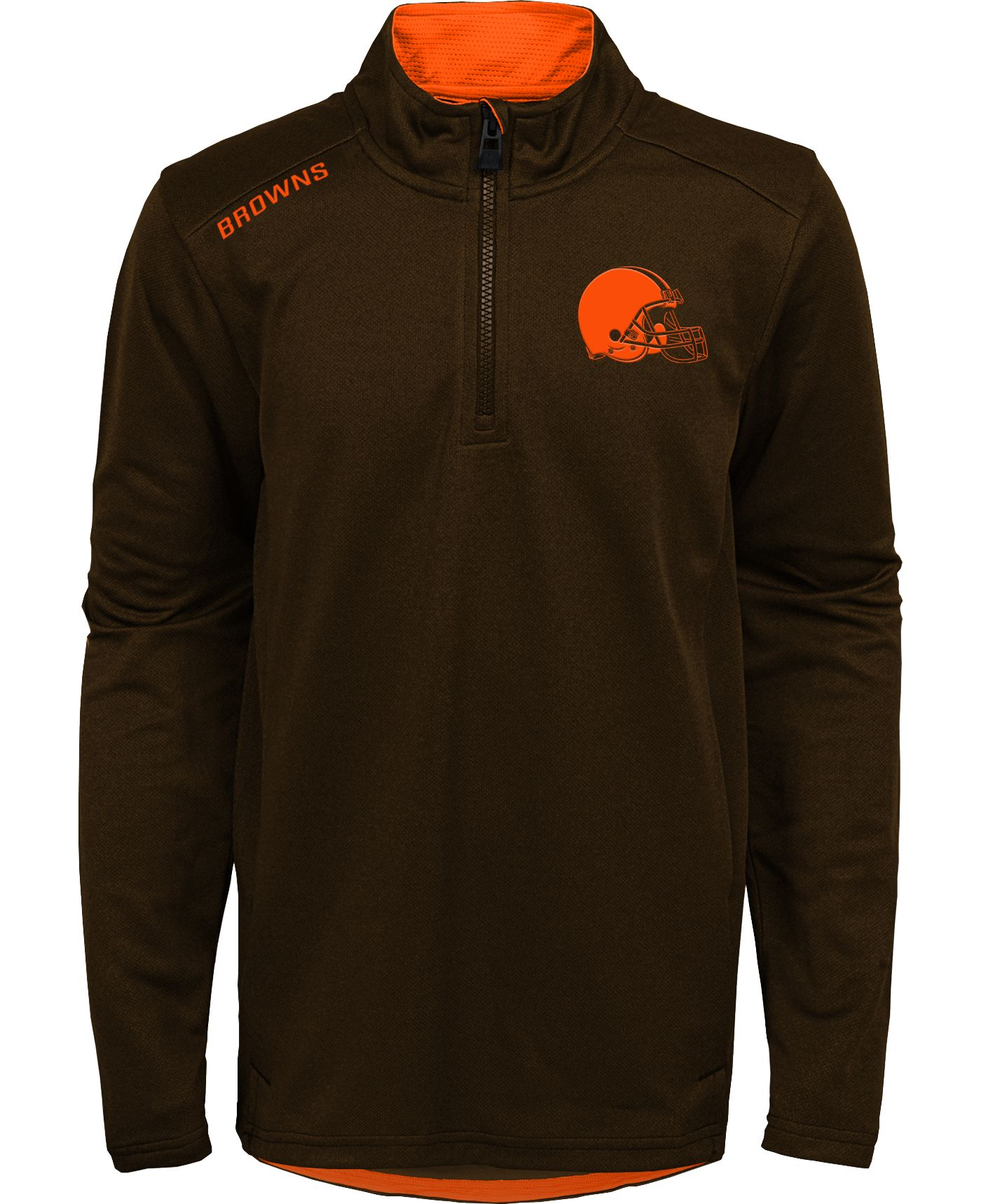 NFL Team Apparel Youth Cleveland Browns Unlock Brown Quarter-Zip Pullover