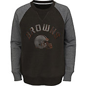 NFL Team Apparel Youth Cleveland Browns Raglan Fleece Gray Crew