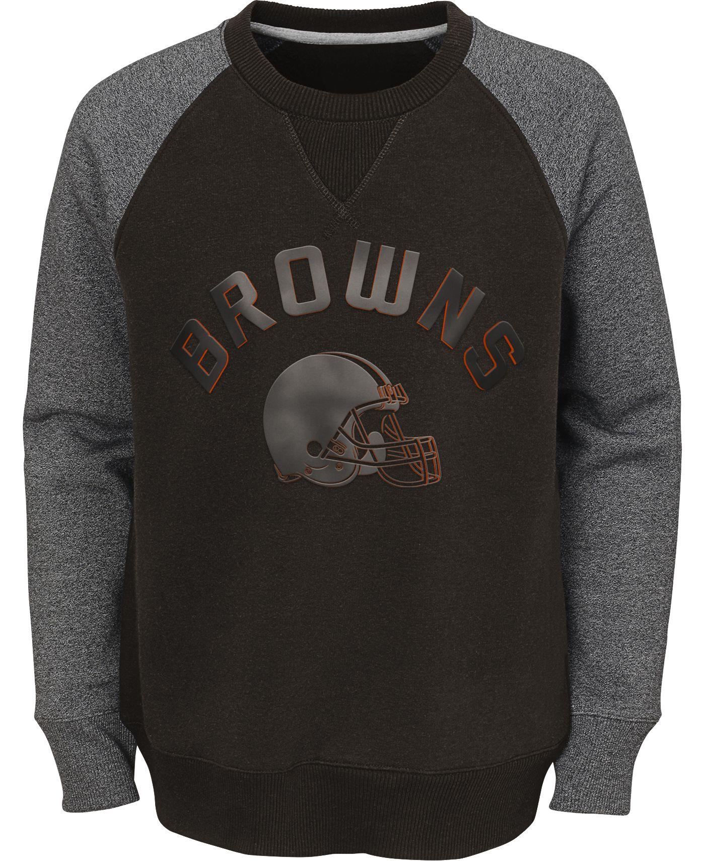 NFL Team Apparel Youth Cleveland Browns Raglan Fleece Gray Crew