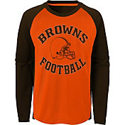 NFL Team Apparel Youth Cleveland Browns Air Raid Long Sleeve Brown Shirt