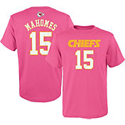 NFL Team Apparel Youth Kansas City Chiefs Patrick Mahomes #15 Pink T-Shirt