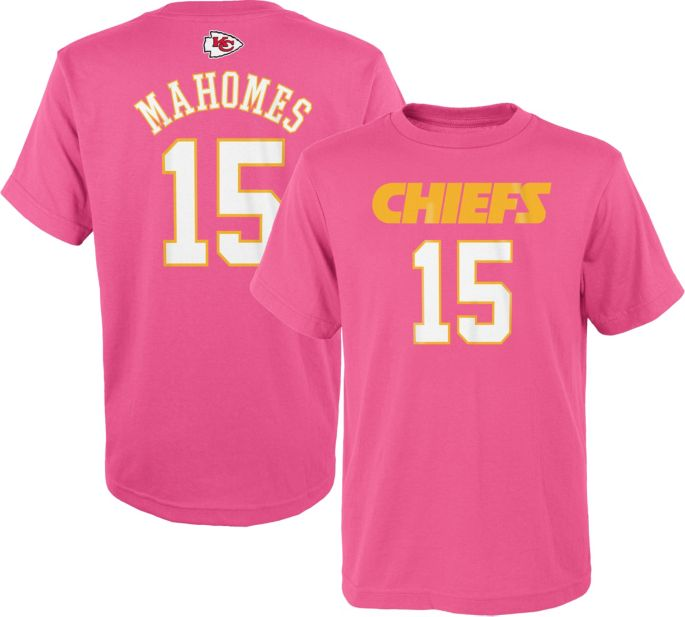 new concept be0fc 92f84 NFL Team Apparel Youth Kansas City Chiefs Patrick Mahomes #15 Pink T-Shirt