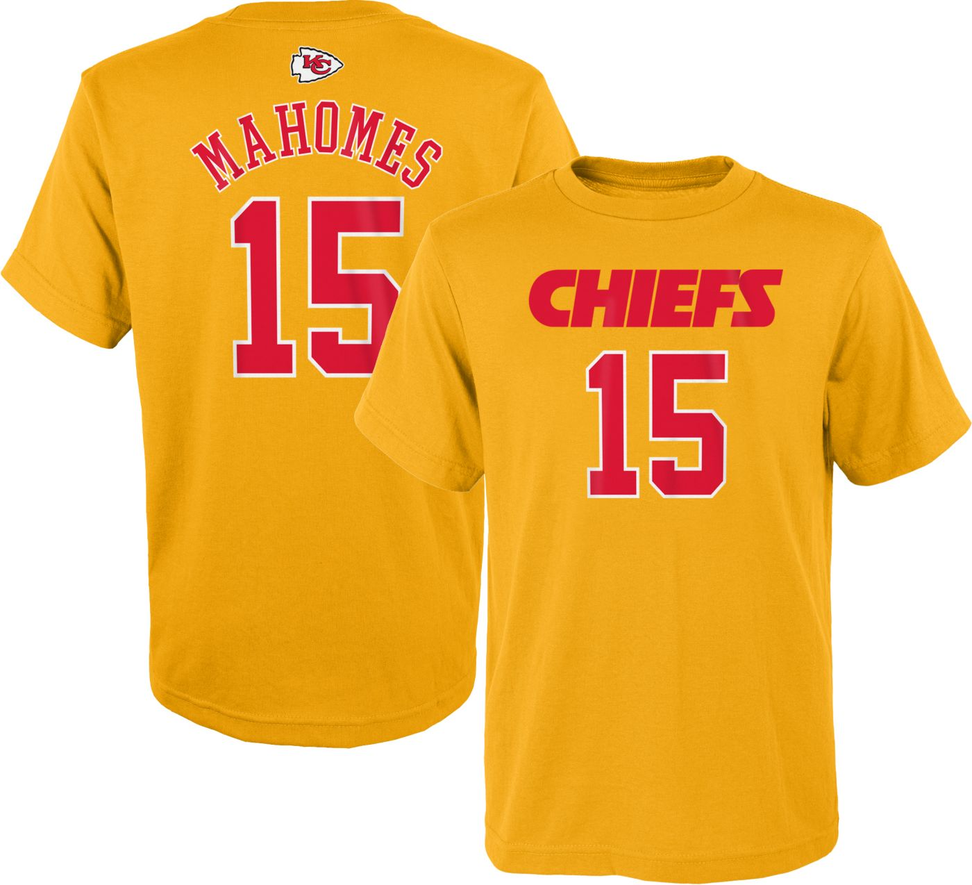 NFL Team Apparel Youth Kansas City Chiefs Patrick Mahomes #15 Gold T-Shirt