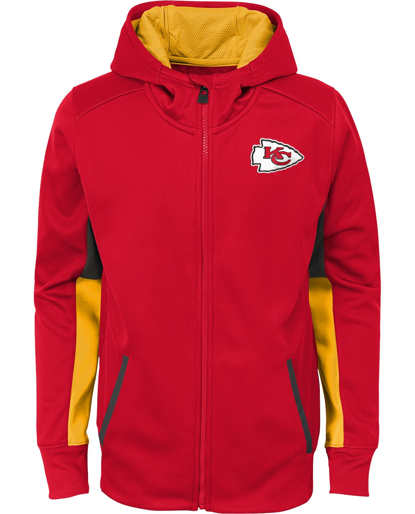 NFL Team Apparel Youth Kansas City Chiefs Performance Red Full-Zip Hoodie