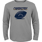 NFL Team Apparel Youth Los Angeles Chargers Equip Snap Grey Long Sleeve Shirt