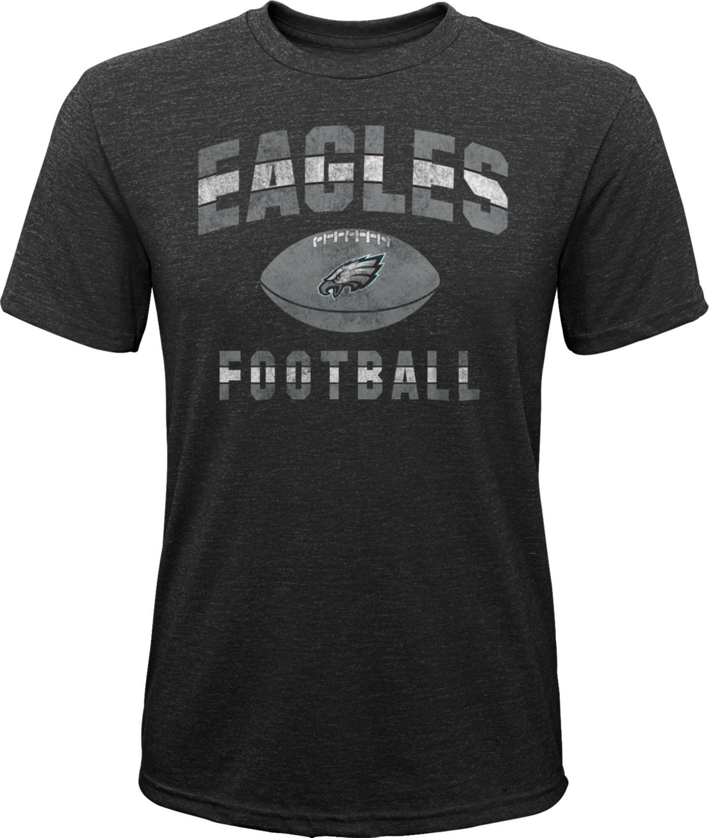 NFL Team Apparel Youth Philadelphia Eagles Big Game Tri-Blend Black T-Shirt