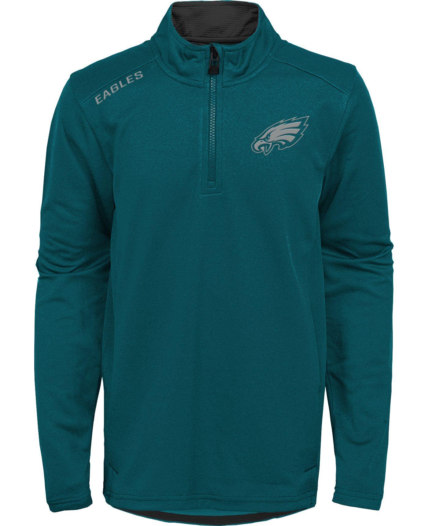 NFL Team Apparel Youth Philadelphia Eagles Unlock Green Quarter-Zip Pullover