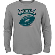NFL Team Apparel Youth Philadelphia Eagles Equip Snap Grey Long Sleeve Shirt