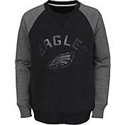 NFL Team Apparel Youth Philadelphia Eagles Raglan Fleece Black Crew