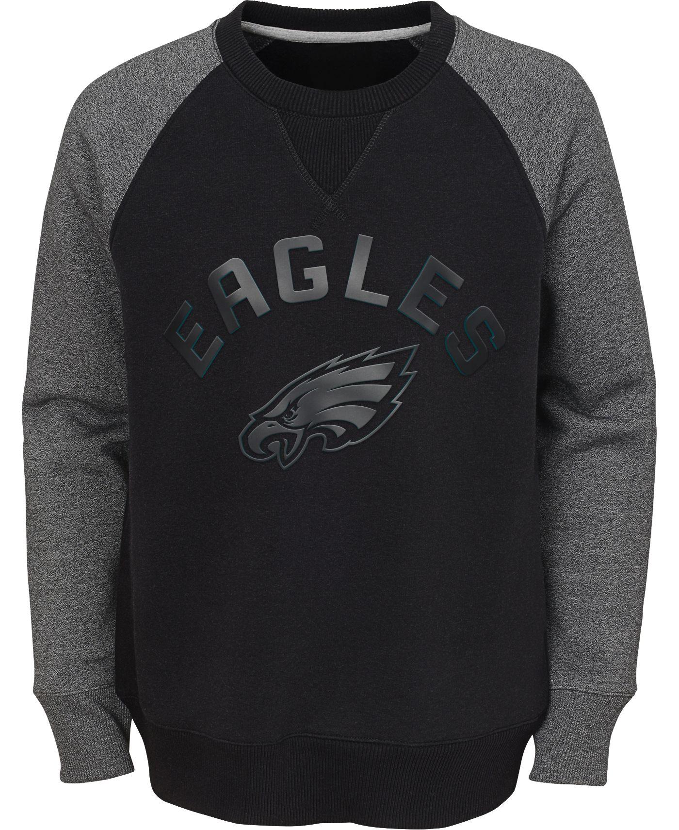 NFL Team Apparel Youth Philadelphia Eagles Raglan Fleece Black Crew