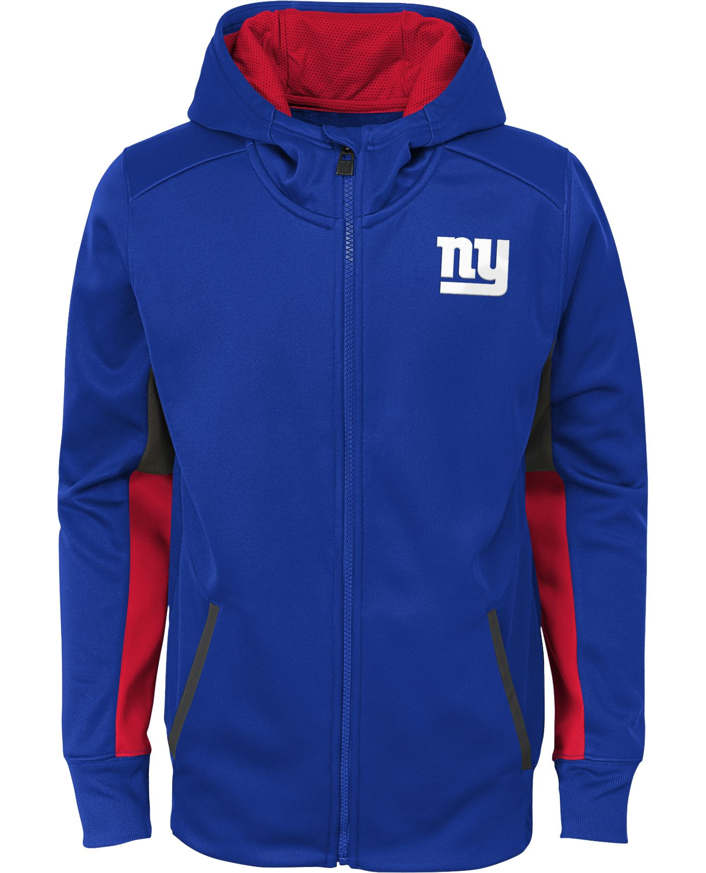 NFL Team Apparel Youth New York Giants Performance Royal Full-Zip Hoodie