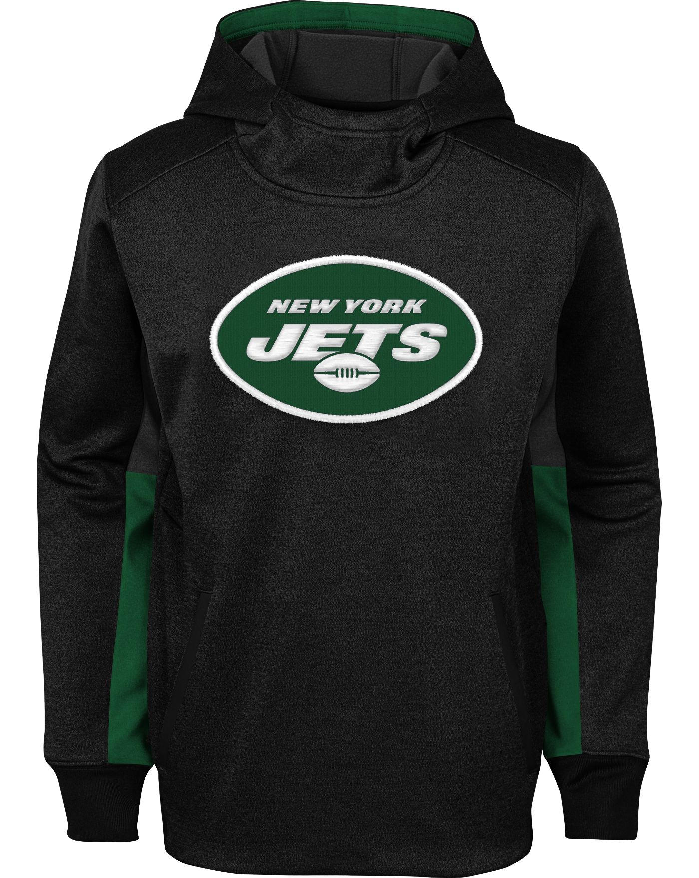 NFL Team Apparel Youth New York Jets Status Performance Black Hoodie